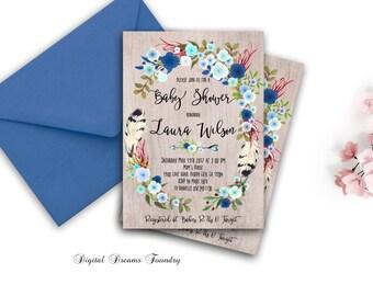 Floral Baby Boy Shower Invitation Printable Boho Baby Shower Invite Blue Baby Invitation Bohemian Baby Invitation Blossom Baby Invitation