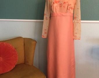 1960's Peach Nadine Dress Small