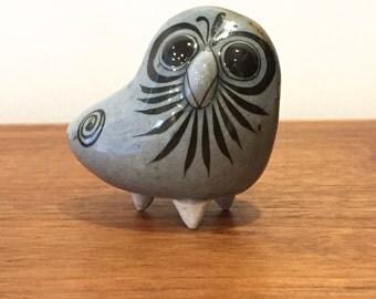 Jorge Wilmot and Salvador Vazquez Hand Painted Tonala Pottery Owl Figure | Vasquez | Mexico