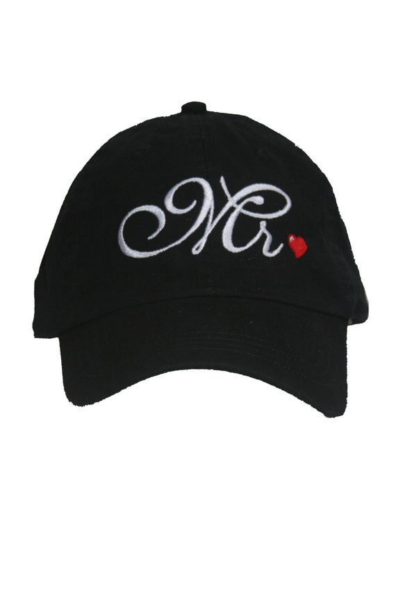 Mr. for the Groom - Script with Red Heart- Ball Cap (Black with White Stitching)