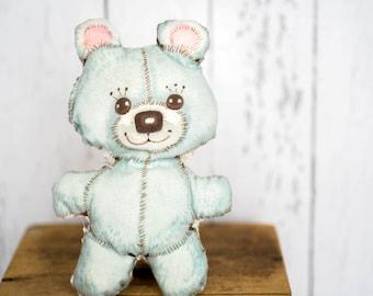Vintage Hand Sewn Teddy Bear - Shabby Chic Blue Teddy Bear - Cloth Child's Hand Made Teddy Bear Toy - Baby Teddy Bear - Shabby Chic Baby Toy