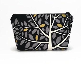 Makeup zipper pouch, Black, Makeup bag, Small makeup pouch, Black make up bag, Zipper pouch, Small cosmetic case, Makeup travel pouch