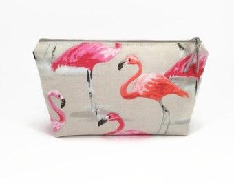 Makeup bag, Flamingo, Makeup zipper bag, Small makeup case, Makeup storage case, Pink flamingo, Small cosmetic case, Flamingo make up bag