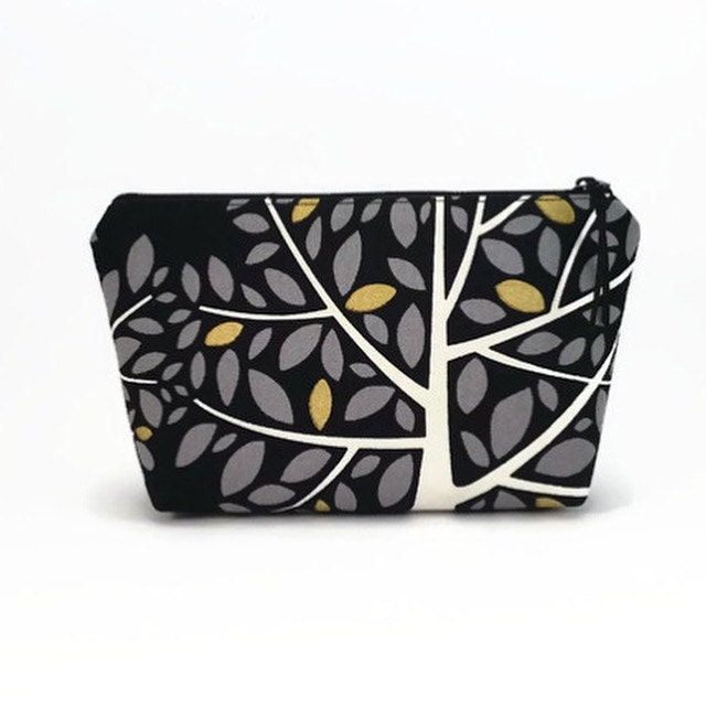 Makeup zipper pouch Black Makeup bag Small makeup pouch