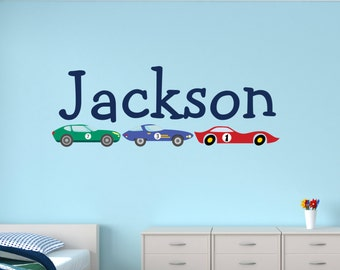 Personalized Name Wall Decal   Race Cars Wall Decal   Boys Bedroom Decor    Kids Wall Part 67