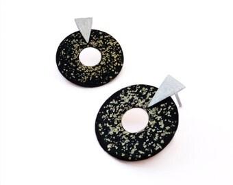 Round Earrings, Japanese Lacquer Earrings, Cashew Japanese Lacquer Jewelry, Contemporary Jewelry, Silver and Cooper Earrings,  Japanese Art