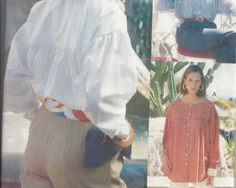 Vogue 8118 Sewing Pattern for a Loose Fitting Shirt, Sizes 8 10 12, Uncut