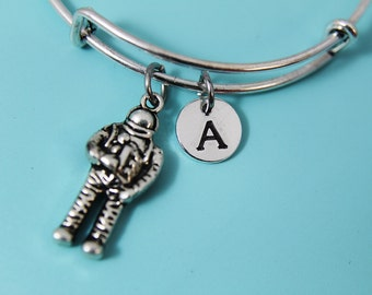 Silver Astronaut Charm Bracelet Bangle Silver Astronaut Charm with Personalized Initial Letter Charm on Expandable Bangle Gifts Ideas