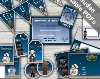 Force Awakens Party Printables (Star Wars Party). Includes Editable Invitations and Decorations. Instant Download.
