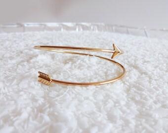 Gold Arrow Bangle Bracelet - Adjustable Lightweight Arrow Cuff Bracelet - Hunger Games Inspired Arrow Bangle - Holiday White Elephant Gift