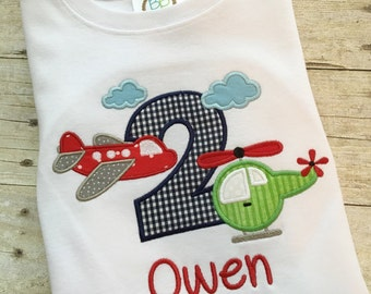 Airplane birthday shirt - Helicopter birthday - Transportation birthday shirt - Boys birthday outfit - Plane birthday shirt -second birthday