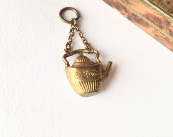 Victorian teapot charm, antique victorian pendant fob, pinchbeck-teapot, antique Victorian pendant Victorian pendant fob in pinchbeck,