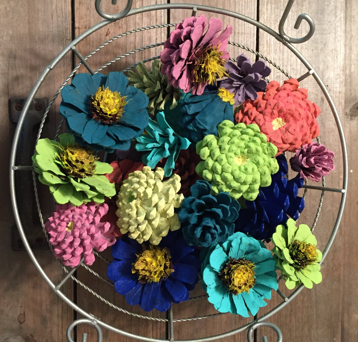 Zinnia pinecone flower bowl filler pine cone basket fillers for Small flowers for crafts