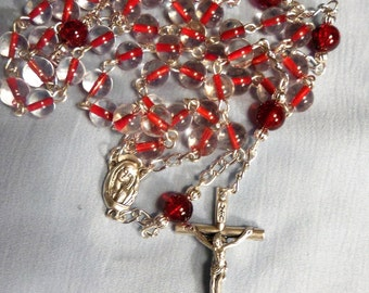 Chaplet of the Sacred Heart, Chaplets, Rosary, Red Rosary, Catholic rosary, Rosary beads, 5 decade rosary, Roman Catholic