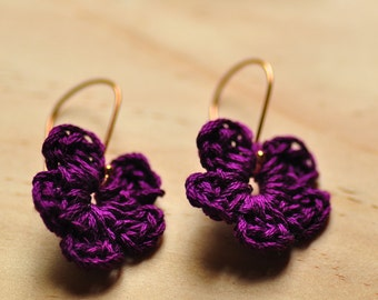 Handmade earrings -Rose Gold Earrings - Crochet jewelry
