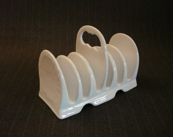 White Ironstone Toast Rack, Six Slots [Vintage]