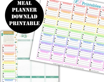 Meal Plan Side Bar Printable Planner Stickers // Erin Condren Printable / Planner Instant Download / Planner Insert Digital Download 00127