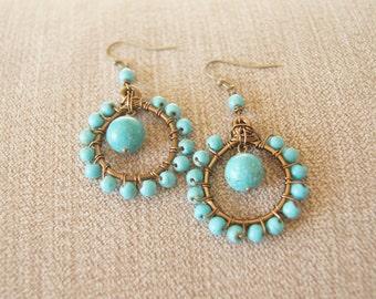 Magnesite Hoop Earrings - Bronze Earrings, Blue Earrings, Wire Wrapped Jewelry, Beaded Earrings, Gemstone Earrings, Blue, Turquoise Earrings