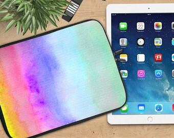 Watercolor Ombre Ipad Sleeve, Rainbow Wash Neoprene Tablet Sleeve, Ipad Sleeve, Ipad 2/3/4, Ipad Air Sleeve, Tablet Travel Case