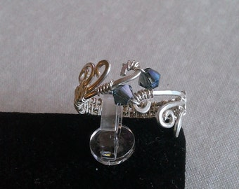 sterling silver ring, wire wrapped sterling ring , swarovski crystal ring , handmade sterling silver ring, handmade jewelry