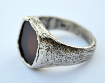Men's Rugged and Rustic silver Ring Signet  Gemstone ring.Scratched and distressed ring.Israeli jewelry.