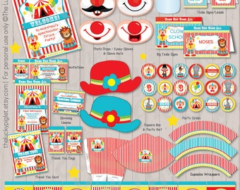 CIRCUS PARTY Printables, Printable Circus Party Package, Circus Party Invitation and Decoration | Instant Download Edit Text in Adobe Reader