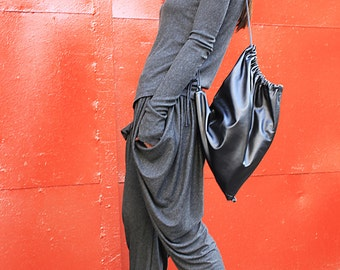 Loose Jogger grey pants/Drop crotch harem pants/Drape viscose pants/Grey trousers/Low crotch pants /Baggy pants/by ROHAS/R00021