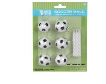 Soccer Candle Holders and Birthday Cake Candles (6).......Soccer Games......Birthday Parties......
