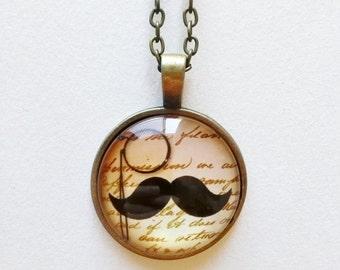 Vintage Moustache Necklace - hipster necklace, moustache pendant, moustache jewelry, hipster pendants, vintage moustache necklace