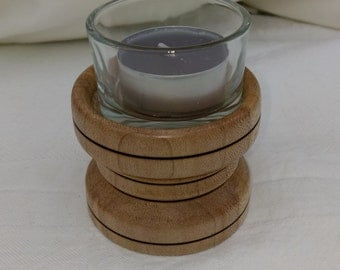 UNIQUE Hand crafted CANDLE HOLDER locally made in Sycamore wood