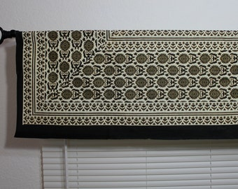 """Elegant black and white Window Valance with golden print, 14""""X 103"""" washable hand printed 100% cotton window treatment for bedroom, any room"""