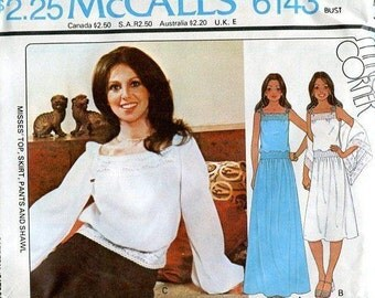 FREE US SHIP McCall's 6143 Marlo Thomas Marlo's Corner Sewing Pattern Retro 1970's Top Skirt Evening Length Shawl Size 8,10,12,14 Uncut