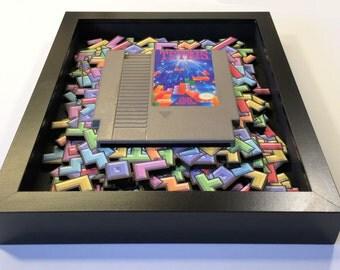 Tetris 3D Shadow Box with (optional) Replica Cartridge Holder in Ninendo / Arcade 8bit Style