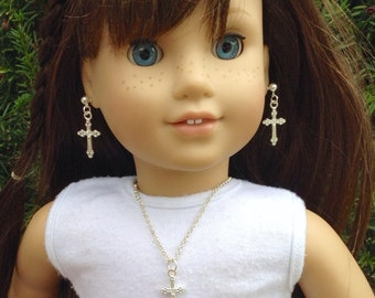 """Silver plated cross necklace and earring set- two piece jewelry set for American Girl and other 18"""" dolls"""