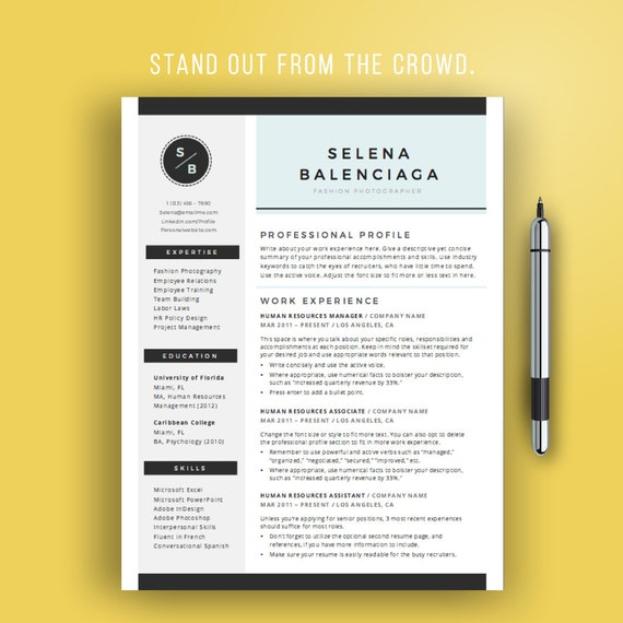 instant resume templates creative template word modern design teacher mac download