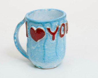 Stoneware mug, handmade ceramic, gift, ceramic mug, milk cup, turquoise mug, for lover, ceramic heart, pottery mug, ceramics and pottery