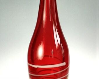 Studio Hand Crafted Blown Glass Bottle Solid Ground Bottom 14 In Orange White