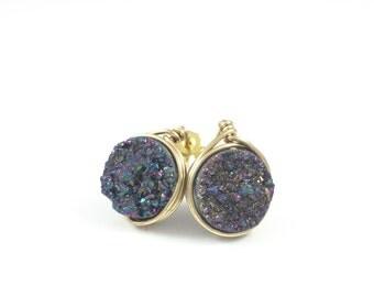 Rainbow Druzy Quartz Round Stud Earrings - Wire Wrap Earrings - Gemstone Jewelry - Peacock Druzy - Post Earrings - Courtney And Courtnie