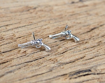 A Pair of Pistol Earrings, Gun Earrings, 925 Sterling Silver, Handgun earrings, Walking dead, Weapon - SA29