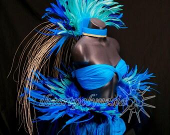 Full Tahitian dance sea blues costume