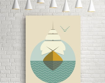 Sailboat, nautical prints, ship print, nautical wall art, nautical art, minimal art, sailboat poster, ship art, sailboat print, sailboat art