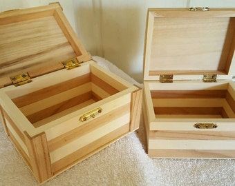 Set of 2 Wooden Boxes UNFINISHED READY for DECORATING 2 different styles New