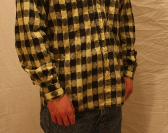 90's Shirt, Long Sleeve Button Down, Black and Yellow, Casual