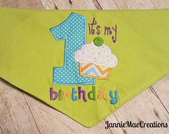 It's My 1st Birthday Embroidered Dog Bandana