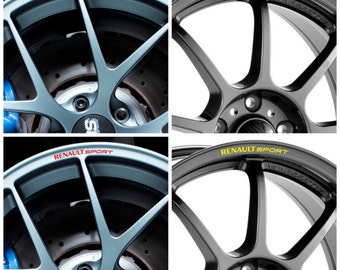 x8 RENAULT SPORT Car Rim Wheel Alloy Decals Stickers Graphics Clio Megane RS Laguna Scenic Trophy Twingo Scenic Fluence Twizy Zoe