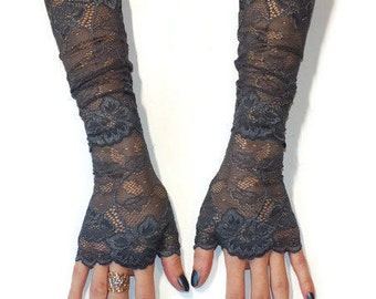 Grey Blue gloves,Long gloves,Lace gloves, Evening gloves, Fingerless Gloves,Sexy gloves