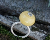 yellow jade ring, pure silver ring, ethical silver ring, sustainable jewelry, handmade in USA,  Green Jeweler