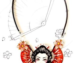 Hand Painted Oriental Bib Necklace, Graduation Gift Idea for Japanese Interpreter, Present Idea for a Traveller Girl Friend