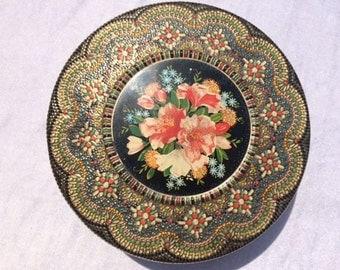Vintage Mosaic Style Flower Tin Old Dutch Flower Tin Box Made In Holland Tin Storage Box