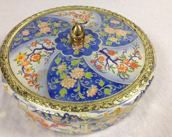 Beautiful Blue Flower Vintage Tin Canister Elegant Vintage Tin